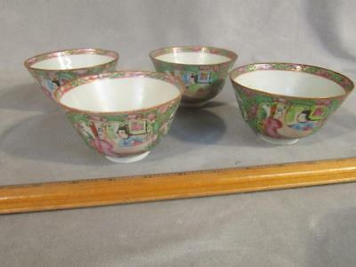 Set 4 Antique Chinese Export Rose Medallion Rice Bowls / Soup Cups