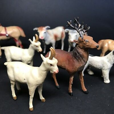 Antique Germany Composition Christmas Animals Deer Goat Horse Dog Giraffe Cows