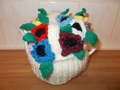 Handknitted Basket Of Anemones Teacosy