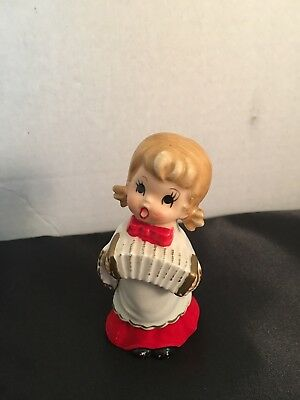 "Vintage Christmas Choir Girl with Accordian Figurine * Norcrest * Japan*4"" label"
