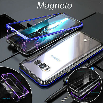 For Samsung Note 9/8 S9 S8+ Magnetic Adsorption Metal Tempered Glass Cover Case
