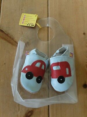 New Starchild blue and red car and caravan baby leather shoes 0-6 months