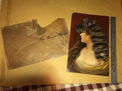 Antique Postcard 1912  Fancy Lady REAL HAIR  Norway Laura Bjerk Estate