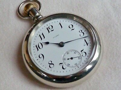 Huge Antique Gents Waltham Silveroid Open Face Pocket Watch 1904 Fully Serviced