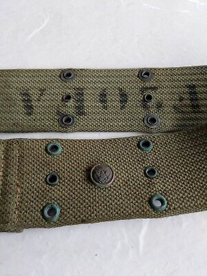 Pre-WWI US Army EAGLE snap pea green pistol belt unit marked F 20th FA RARE LOOK