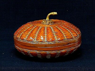 Vintage Chinese Rattan Pumpkin Shaped Lidded Basket Carved Wood Handle