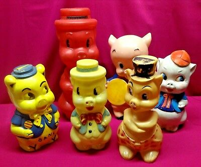 Lot of 6 Vintage Collectible Hard Plastic Piggy Banks
