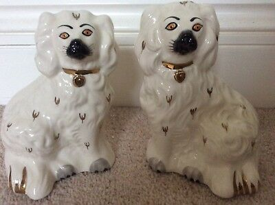 Pair of Vintage Royal Doulton China Wally Mantel Hearth Dogs Spaniels 1378-6