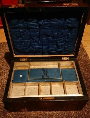 Victorian Jewellery Box with original lined compartments needs restoration