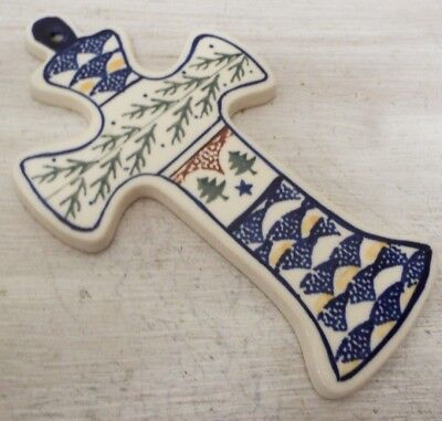 Boleslawiec Polish Pottery Cross Christmas Tree Pattern Made In Polland