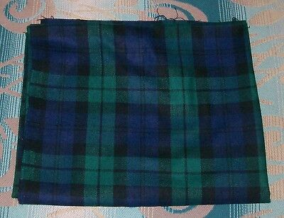 Black Watch Tartan Plaid Wool Fabric Green Blue & Black
