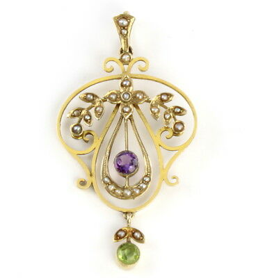 Antique Edwardian Suffragette 9Ct Gold Pendant Amethyst, Peridot and Pearls