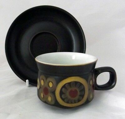 Denby Pottery Arabesque Pattern Cup and Saucer made in Stoneware