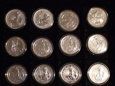 12x The Rarest 1oz Silver Britannias Collection/Set Inc. 5 With Edge/Rim Privy