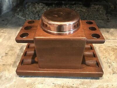 Vintage Duk-It Walnut Wood 6 Space Pipe Holder With Copper Humidor Canister