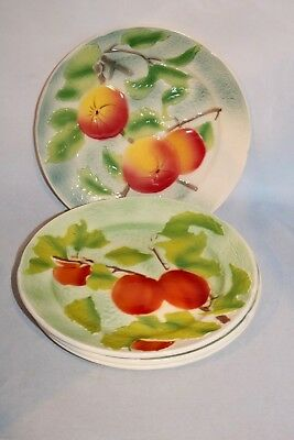 4 St. Clement Majolica Fruit Plates Apricots and Apples? Excellent!  France