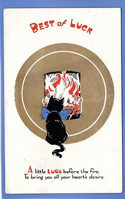 Old Vintage Postcard Black Cat Sitting Near The Fire Good Luck Animals