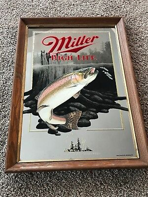 Miller High Life Beer Wisconsin Rainbow Trout Mirror 1St Print Sportsmens Series