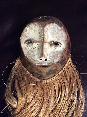 Vintage Tribal African Hand Made Wood Mask With Raffia Hair Made In Kenya