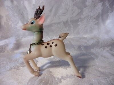Rare Vintage  Soft Rubber Christmas Reindeer Japan Bell Head Turns