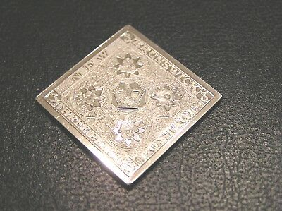 SOLID SILVER STAMP INGOT of NEW BRUNSWICK ROYAL CROWN 1851 THREE PENCE