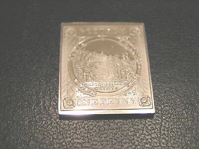 SOLID SILVER STAMP INGOT of NEW SOUTH WALES SEAL OF COLONY 1850 ONE PENNY