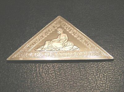 SOLID SILVER STAMP INGOT of CAPE OF GOOD HOPE WOOD BLOCK 1861 FOUR PENCE
