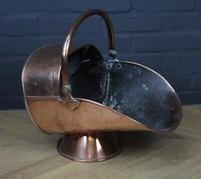 Antique Late Victorian Copper Coal Scuttle (Fireside Fireplace Log Basket)