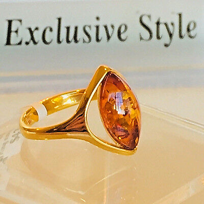 14k Gold Filled Genuine Russian Baltic Amber Ring Size 7,5 Butterscotch Polish