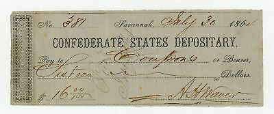 1864 $16 Confederate States Depositary Check - CIVIL WAR Era