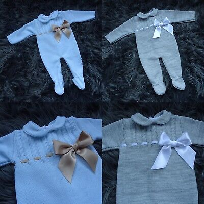 12-18m Baby Boys Spanish Romper Bundle Grey Blue Knitted Clothes