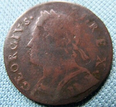 1733 King George II British US Colonial Halfpenny-Non Regal Scarce Simian Family