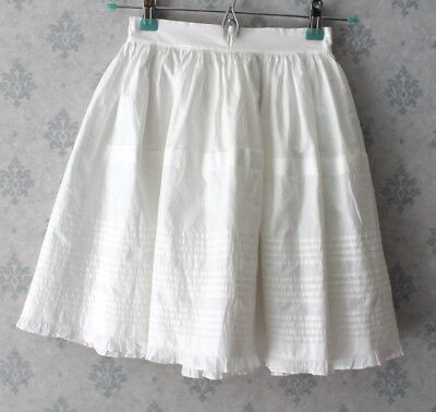 Child's Antique Victorian 1800s White Cotton White Worked Pintucked Petticoat