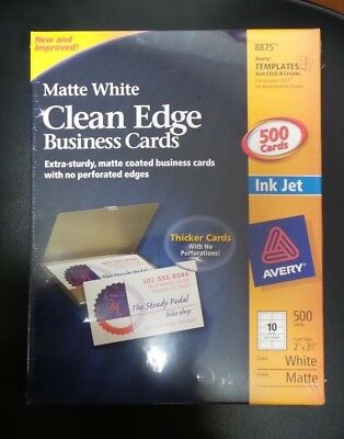 Avery 500 Ink Jet Business Cards 8875 Matte White Clean Edge New Sealed