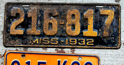 1932 Orange on Black Mississippi License Plate