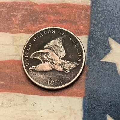 1858 1C Flying Eagle Penny Cent Vintage US Copper Coin #MC12