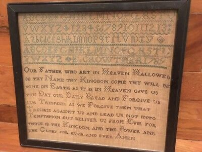 Georgian antique embroidery Lord's Prayer sampler by E. Crowther dated 1789