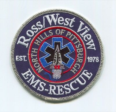 Ross West View Ems Rescue Patch Pennsylvania Pa Ambulance 1978 Pittsburgh Blue