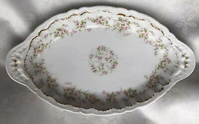 Theodore Haviland Limoges Schleiger #844 Relish Dish Bowl Pink Roses Double Gold