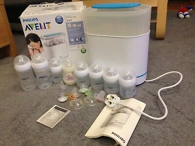 Phillips Avent 3 In 1 Electric Bottle steriliser with extra bottles, dummies,box