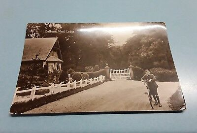 Vintage RPP real photographic postcard boy bicycle West Lodge SALTOUN  C Bruce