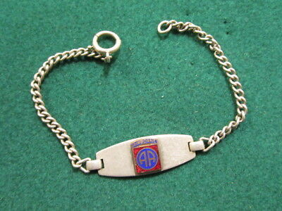 WWII US 82nd Airborne STERLING Sweetheart Souvenir Bracelet / 6.75 Inches