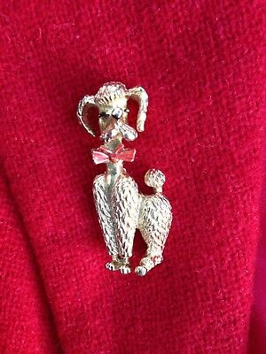 Vintage POODLE brooch PIN French Toy Standard Dog RED bow Christmas 1950s