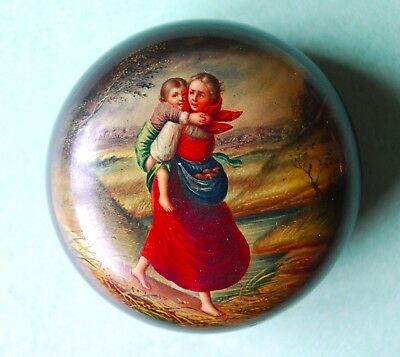 Antique Russian Imperial Papier Mache Lacquer Box Vishnyakov