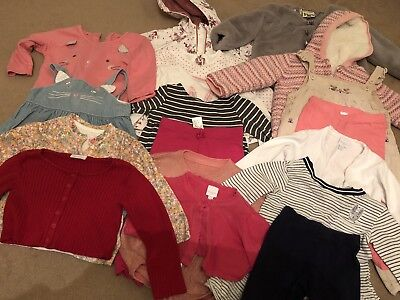 large mixed bundle of baby girl clothes age 9-12 months