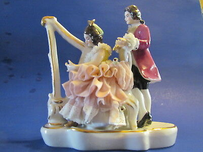 Dresden Lace Figurine Lady With Harp and Man