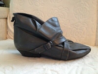 Midas grey leather ladies bootees true retro 1980s size 3 (EU36) made in Italy