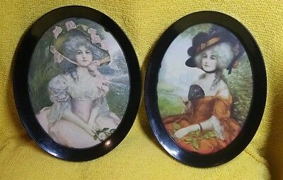 Antique Victorian Lady Print Oval Metal Frame