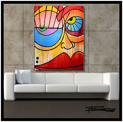 ABSTRACT PAINTING Large Modern Canvas WALL ART, Framed, Signed, USA ELOISExxx
