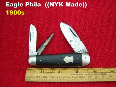 EAGLE PHILA NYK (1900s Era) ~ JUMBO Punch WHITTLER knife WOOD ⭐⭐Nice & RARE⭐⭐